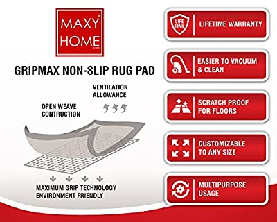 Non Slip Rug Pad || GripMax Premium Anti Slip Rug Pad for under Area Rugs Carpets Runners Doormats on Wood Hardwood Floors 2x4 2x8 3x5 4x6 5x8 6x9 8x10