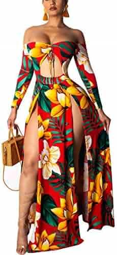 45a47c1218 Women's Floral Print Split 1 Piece Maxi Dress Girl Off Shoulder Cut Out Bandage  Beach Outfit