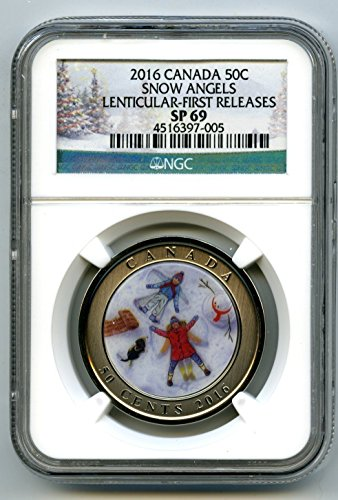 2016 Canada SNOW ANGELS LENTICULAR 3D FIRST RELEASES RARE 50 CENT HALF DOLLAR SP69 NGC