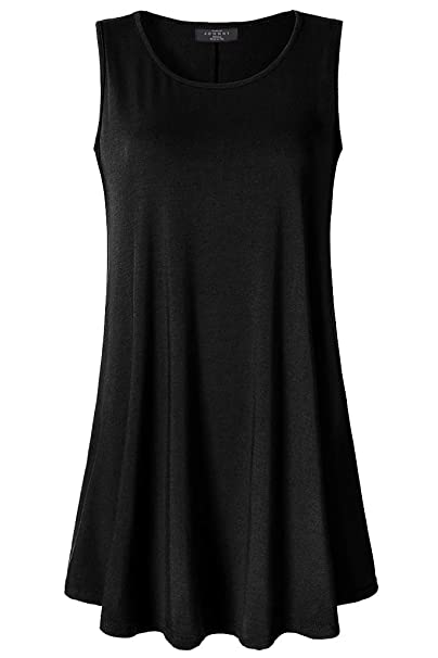 215a7bcafbc Lock and Love LL WT2098 Women Solid Sleeveless Tunic for Leggings Swing  Flare Tank Tops S