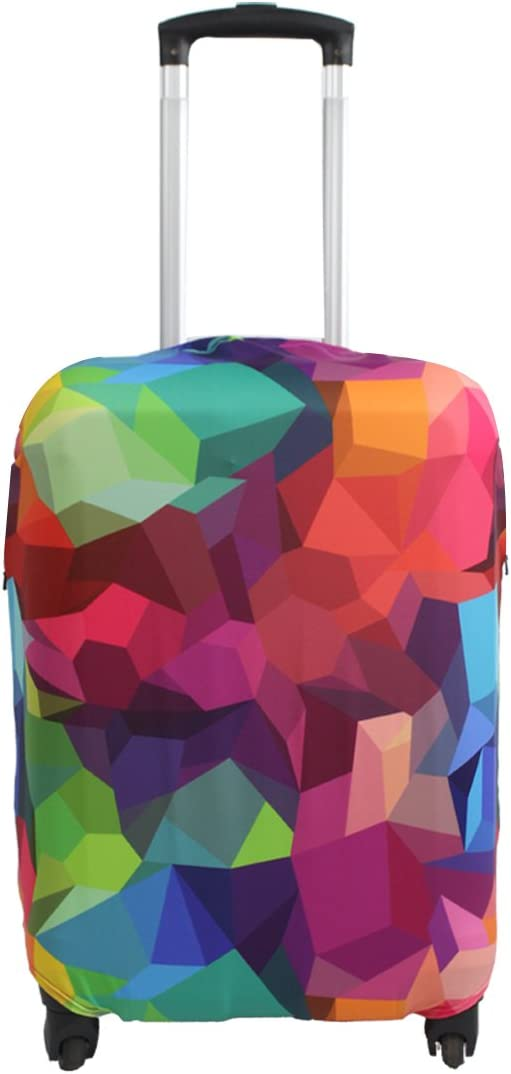 Explore Land Travel Luggage Cover Suitcase Protector Fits 18-32 Inch Luggage (Geometry, M(23-26 inch Luggage))
