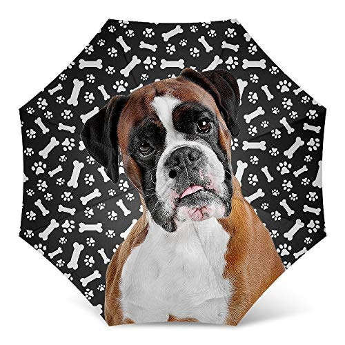 - Design Dog Paws Umbrella With Funny Boxer Dog Pattern Print - Windproof Travel Folding Umbrella Golf Umbrella - Great Dog Mom Gifts