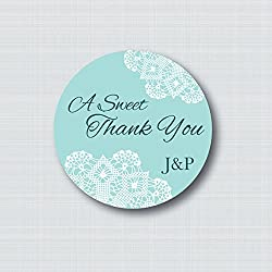A Sweet Thank You Custom Wedding Stickers Favor Labels Lace Doily Blush Pink Candy Buffet Treat Bag Sticker