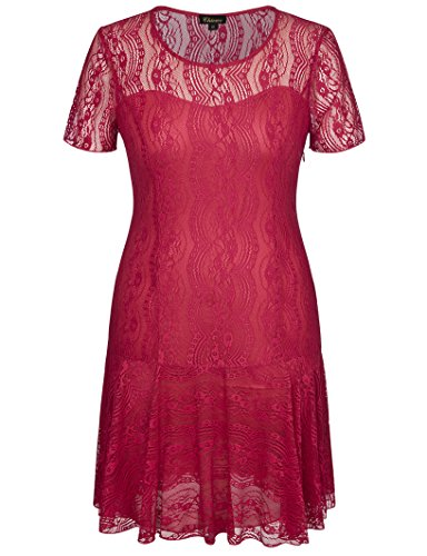 Chicwe Women's Swinging Symphony Luxury Lace Plus Size Dress Wine Red 4X