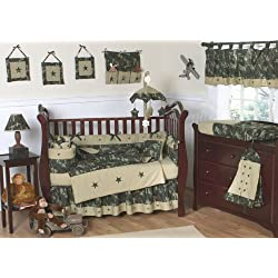 Sweet Jojo Designs Green and Brown Camo Camouflage Military Baby Boy Bedding 9pc Crib Set