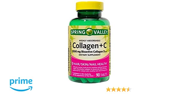 Amazon.com: Spring Valley Highly Absorbable Collagen + Vit C 90 ct (pack of 1): Health & Personal Care