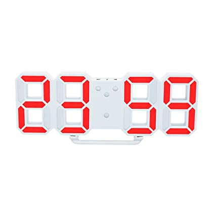 MagiDeal Reloj Digital de Pared LED Alarma Despertador Brillo de LED Ajustable Decoración de Hogar -