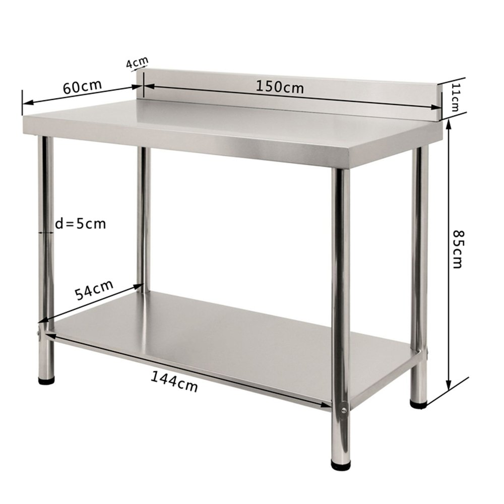 LARS360 Avec Backsplash de travail en acier inoxydable Table en acier inoxydable Table de pr/éparation daliments en Table de travail commerciale pour restaurant de bar de cuisine Argent 100x60x85cm