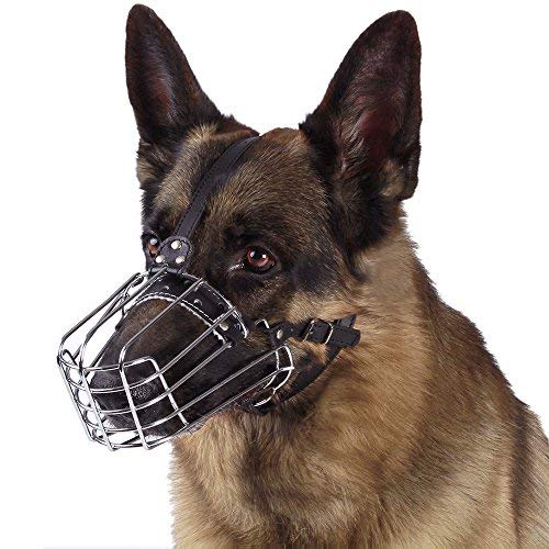 BronzeDog Dog Muzzle German Shepherd Wire Basket Metal Mask Leather Adjustable Medium Large Pets (L)