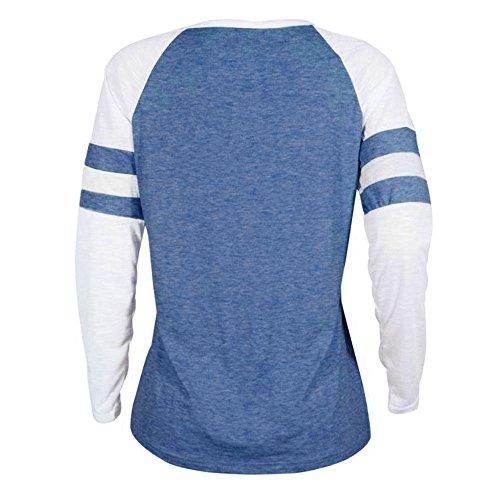Chemisier T Dame Shirts Lettre Bleu Fermeture Chemisier Blouse de Lache Soie Hiver Lonshell de amp;Automne Femme 02 Vetements imprime Shirt de Manche Bloc Tops Couleur Printemps wPHEHqO