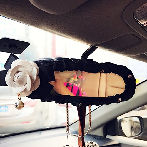 Inebiz Car Charm Beautiful Camellia Interior Rearview Mirror Elastic Leather Decorative Cover