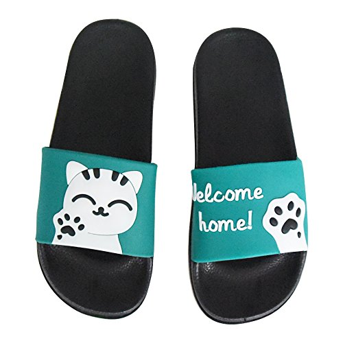 Outdoor Womens Athletic Slides Slide Slippers Sport Green Cute Lucky SITAILE Sandals Slip on Indoor Cat wYq4nCCd
