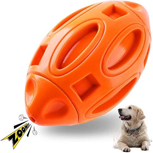 Dog Chew Toys Squeaky Toy for Aggressive Chewers Indestructible Ball for Medium Large Breed Tough Dog Toys for Extreme Chewers Boredom Long Lasting Interactive Rubber (Orange)