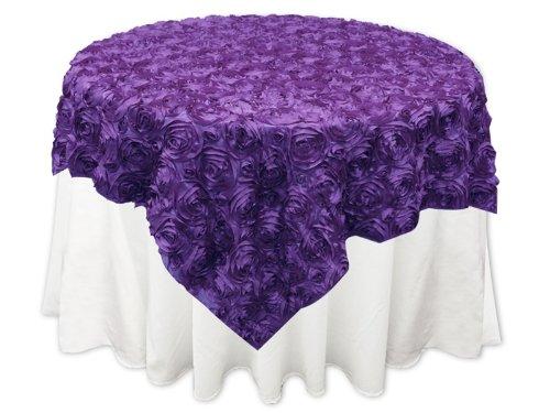 (Grandiose Rose Design Rosette Table Overlay Table Cover - Purple (72x72))