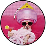 Printing Round Rug,Funny,Chihuahua Dog Relaxing and Lying in Wellness Spa Fashion Puppy Comic Print Decorative Mat Non-Slip Soft Entrance Mat Door Floor Rug Area Rug For Chair Living Room,Magenta Baby
