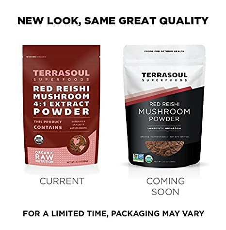 Terrasoul Superfoods Organic Reishi Mushroom Powder (4:1 Extract), 5 5  Ounces