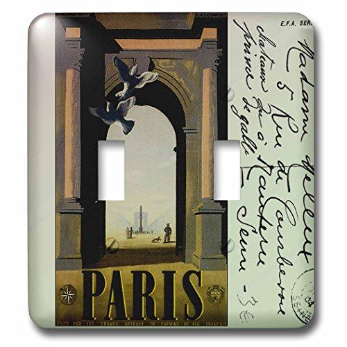 3dRose LLC lsp_99220_2 Vintage Travel Postcard Paris Double Toggle Switch by 3dRose
