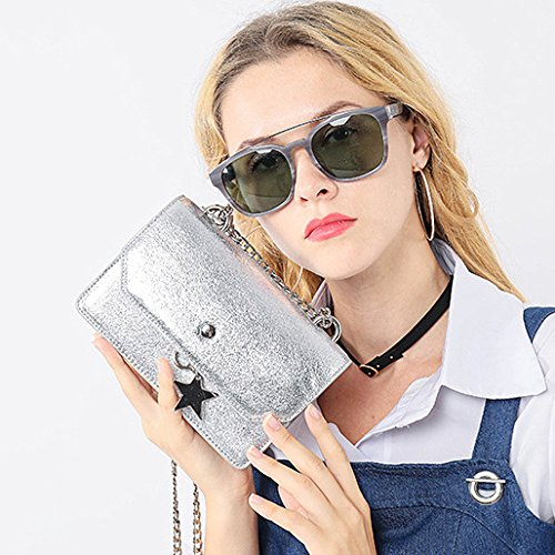 Women Cross Handbags Silver For Evening Silver Stars Bags With Bag Chain Clutch Body Strap rxXwrqC