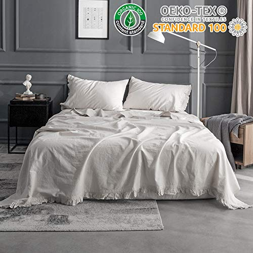 King Linens Simple&Opulence Belgian Linen Sheet Set 4PCS Solid Color Ruffles - Sheet Ruffle