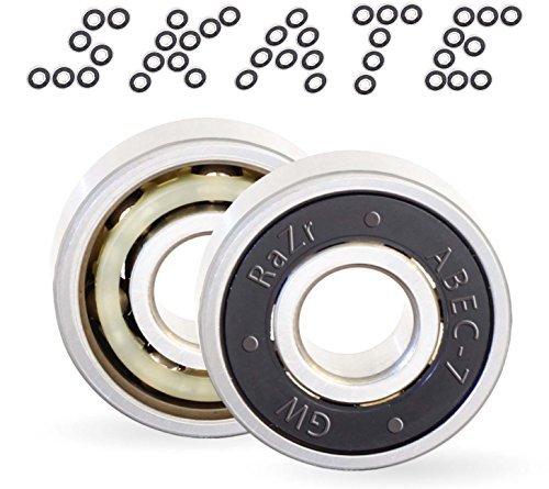 Precision Bearings High - Skate Bearings 608 rs Abec7 for Skateboards, longboards, Scooter, Roller Blades,Inline, Deck Board Trucks Wheel. Pre Lubricated Premium Titanium Grade Performance high Speed smoothest Fastest Spin.