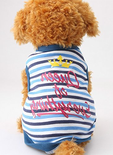 Alroman Dog T-shirt Puppy Dog T Shirt Pet Clothing Shirt Puppy Clothes Pet Dog Spring Apparel Doggie Summer Apparel Blue Shirt with Stripes Beach Wear Outfit Dog Lovers (Reservoir Dogs Costume Halloween)