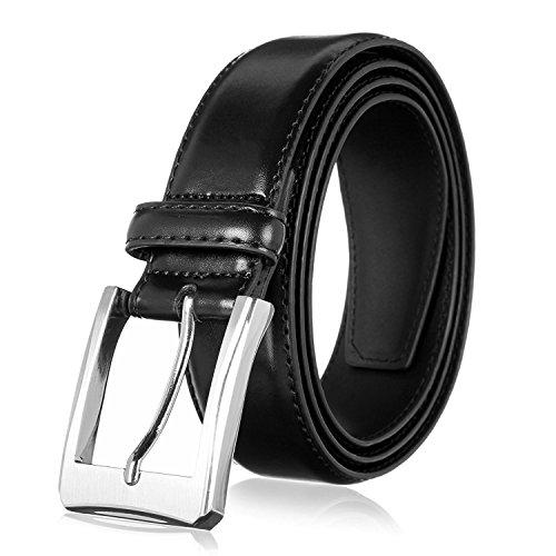 Men's Genuine Leather Dress Belt with Premium Quality - Classic & Fashion Design (Black, 34)