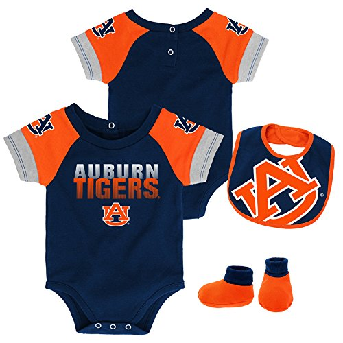 Gen 2 NCAA Auburn Tigers Newborn & Infant 50 Yard Dash Bib & Bootie Set, 0-3 Months, Dark - Tigers Jersey Auburn Logo