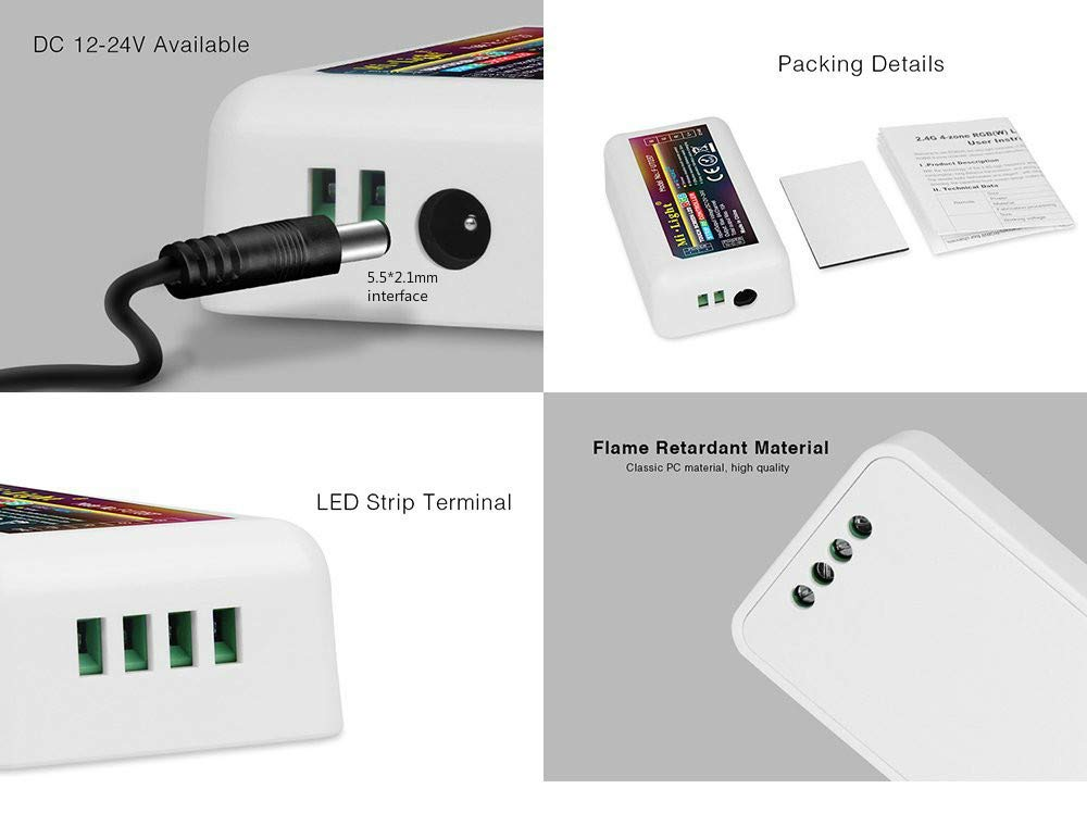 FUT038 LED Strip Lights Controller 2.4G 4-Zone LED RGBW RF Mi Light Series Color Changing and Brightness Dimming for RGBW Strip Lights