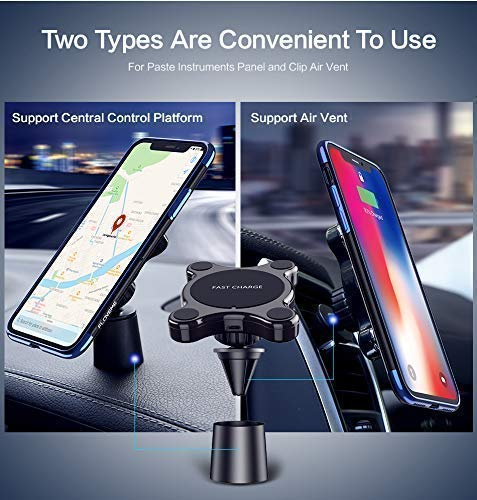 QI Fast Magnetic Wireless CAR Charger Mount for All QI Enabled Devices iPhone 8/8S/8plus/X Samsung Note 8/S8/ S8 Plus / S7 / S6 Phone Mount Charger Fast Charge Easy Dash Vent Mount by W.A.C (Image #5)