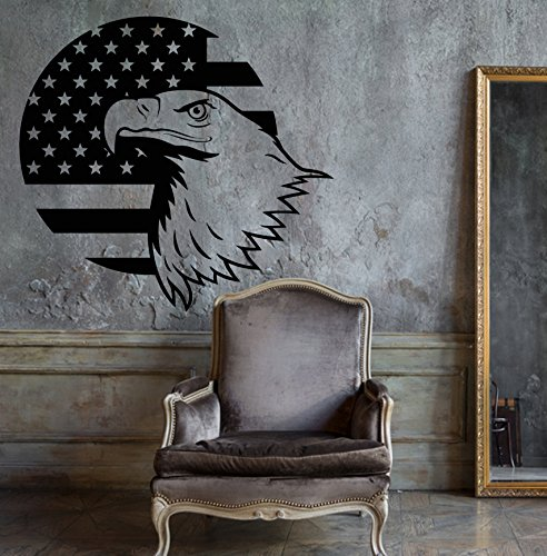 Amazing Vinyl Wall Decal Bald Eagle US Symbol USA Flag Patriotic Unique Decal and Stick Wall Decals