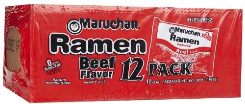 Maruchan Ramen Noodle Soup Beef Flavor, 3 oz, 12 ct
