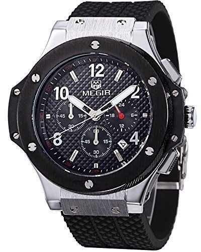(Megir Men's Black Dial Chronograph Casual Sport Quartz Watch)