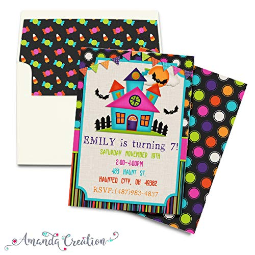 Colorful Haunted House Halloween Birthday Party Invitation