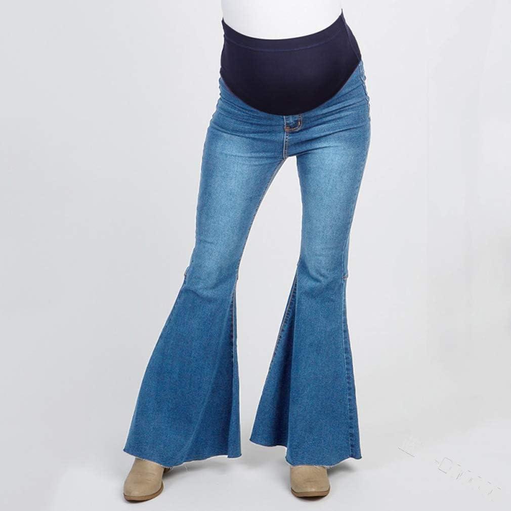 Kunfang Mujer Jeans de Maternidad Stretch Denim Pantalones Moda Flared Jeans