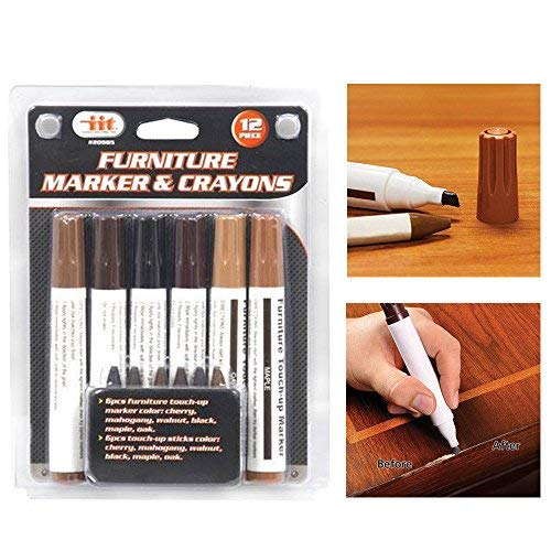 12 Pc Furniture Marker Crayons Repair Kit Wood Touch Up Scratch Filler Remover (Up Furniture Touching Scratches)