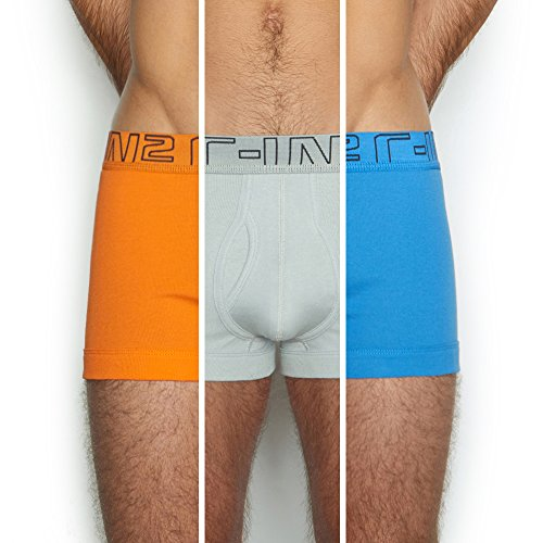 C-IN2 Men's Multipack-3 Trunk, Sunburst/Grey Stripes/Electric Blue, Large