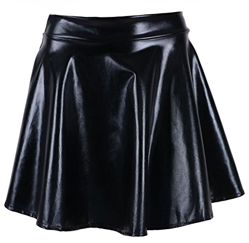 (Junior Girl's Glossy Liquid Shine Metallic Wet Look Skirt Alien Costume)