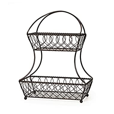Gourmet Basics by Mikasa Lattice 2-Tier Metal Fruit Basket, Antique Black