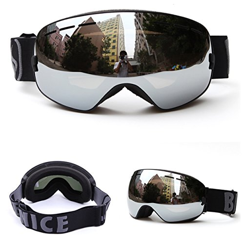 Benice Ski Snowboard Snow Goggles Full Mirror Coated Lens Spherical Lens UV Protection Anti-fog Detachable Strap for Skiing and snowboarding (Unisex Type,Silver Lens+Black - Lens Mirror Goggles