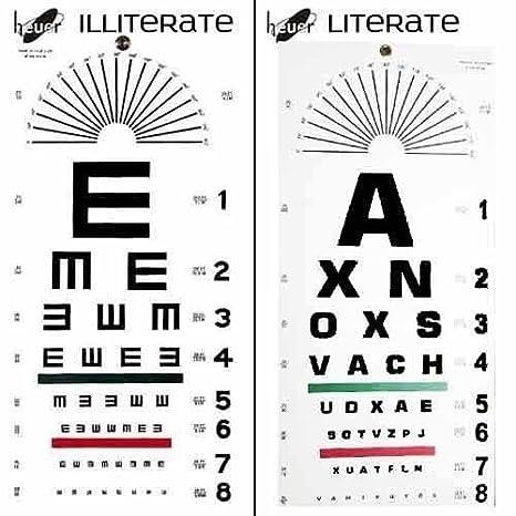Heuer Eye Testing Chart Plastic Illiterate With Literate Amazon