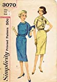Simplicity 3070 Misses' One-piece Dress with Raglan Sleeves and Wiggle Skirt Sewing Pattern, Size 14, Bust 34, Vintage Rockabilly