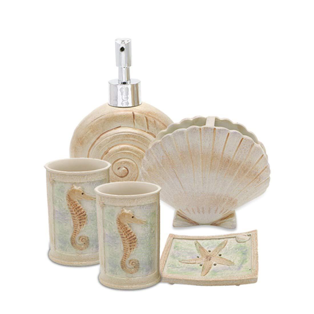 Creative Scents 5 Piece Bathroom Accessory Set, Hotsan Beach Seashells Ensemble Set Includs Soap Dispenser, Soap Dish, Tumble, Toothbrush Holder - Ivory Polyresin Set for Man, Woman, Kids