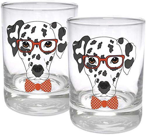 (Circleware Dalmatian Dogs Double Old Fashioned Whiskey Glass, Set of 2, Kitchen Drinking Glasses Glassware for Water, Juice, Beer and Best Bar Barrel Liquor Dining Decor Beverage Gifts, 11.25 oz, Red )