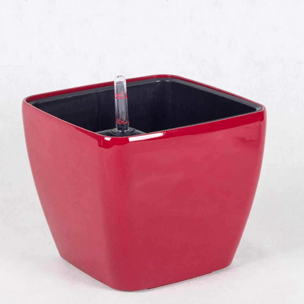 ti aspetto ADAHX Vasi da da da Fiori, vasi da Fiori Quadrati Desktop, Piccoli vasi da Fiori in plastica irrigazione Automatica, vasi da Fiori Dipinti,ristoranti, Negozi (Senza Piante),Red,17.5cmx15cm  negozio online outlet