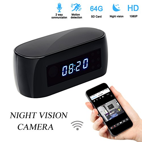 Poetele Alarm Clock Spy Hidden Camera with Wifi,Motion Detection,2-Way Communication and Night Vision,Full HD 1080P DV Camcorder,140 Degrees,12Mp,Covert Nanny Cam Wireless Camera P2P IP (Alarm Clock Camera)