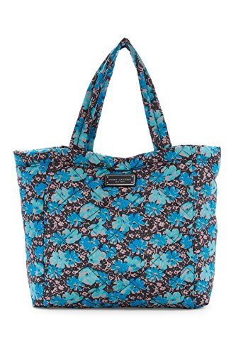 Marc Jacobs Large Quilted Nylon Tote (Blue Floral) (Quilted Nylon Handbag)