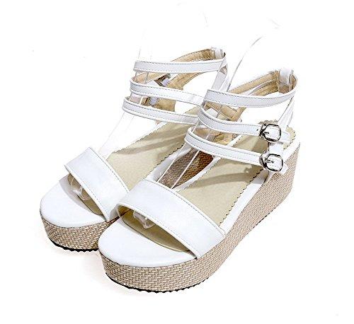 AgooLar Women's Buckle Open Toe Kitten Heels Pu Solid Sandals White NT9xXRBZl