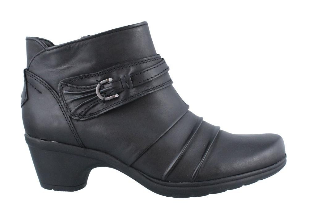 Earth Origins RONNIE Womens Black Leather Side Zip Comfort Ankle Boots, Size 8