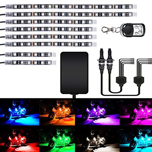 - AMBOTHER 8Pcs Motorcycle LED Light Kit Strips Multi-Color Accent Glow Neon Lights Lamp Flexible with Remote Controller for Harley Davidson Honda Kawasaki Suzuki Ducati Polaris, 1 Year Warranty
