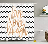 Ambesonne Live Laugh Love Decor Shower Curtain, Motivational Calligraphic Art Zigzags Chevron Stripes, Fabric Bathroom Decor Set Hooks, 70 inches, Black White Peach